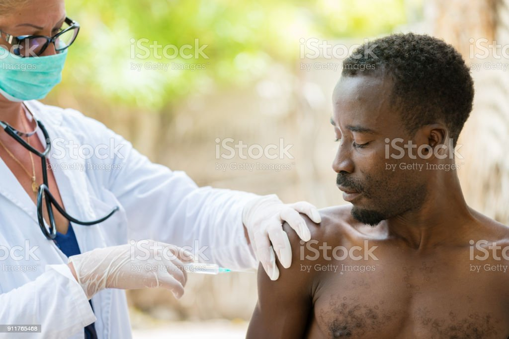 Vaccination in Africa stock photo