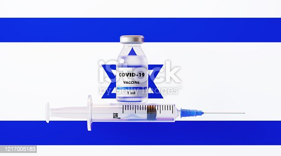 COVID-19 vaccine and syringe on Israeli flag, Horizontal composition with copy space. COVID-19 vaccine concept.