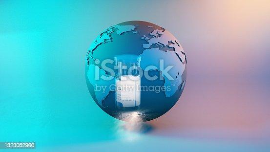istock Vaccine bottle and earth globe 1323052960