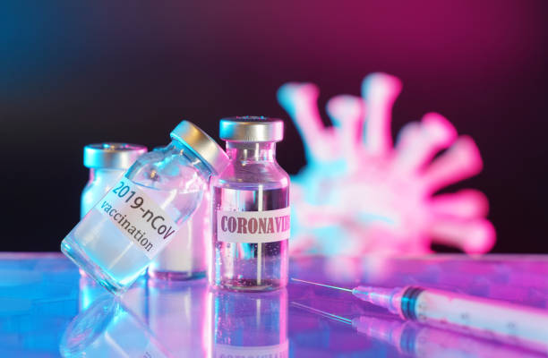 vaccine bottle with a label that Corona virus Vaccine injection,Healthcare And Medical concept. stock photo