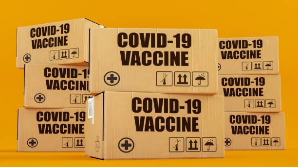 COVID-19 Vaccine Boxes stock photo