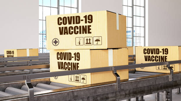 COVID-19 Vaccine Production Line. Boxes on a Conveyor stock photo