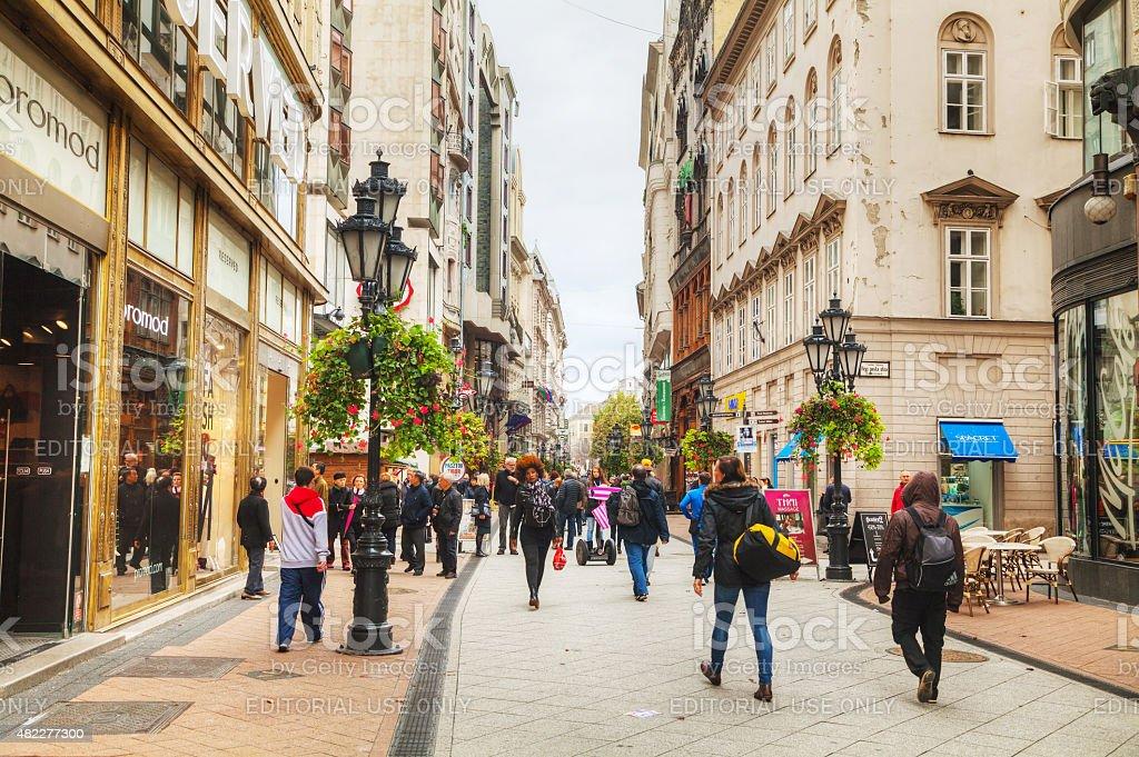 Vaci street crowded with tourists stock photo