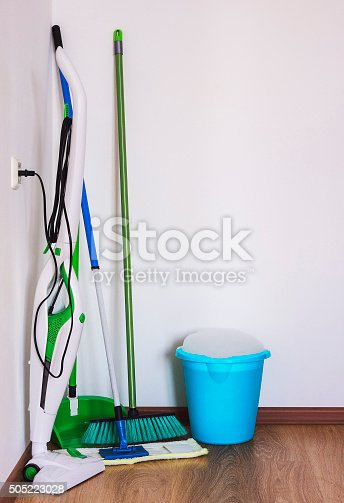 473158422 istock photo Vacuum cleaner, a mop and a broom. 505223028
