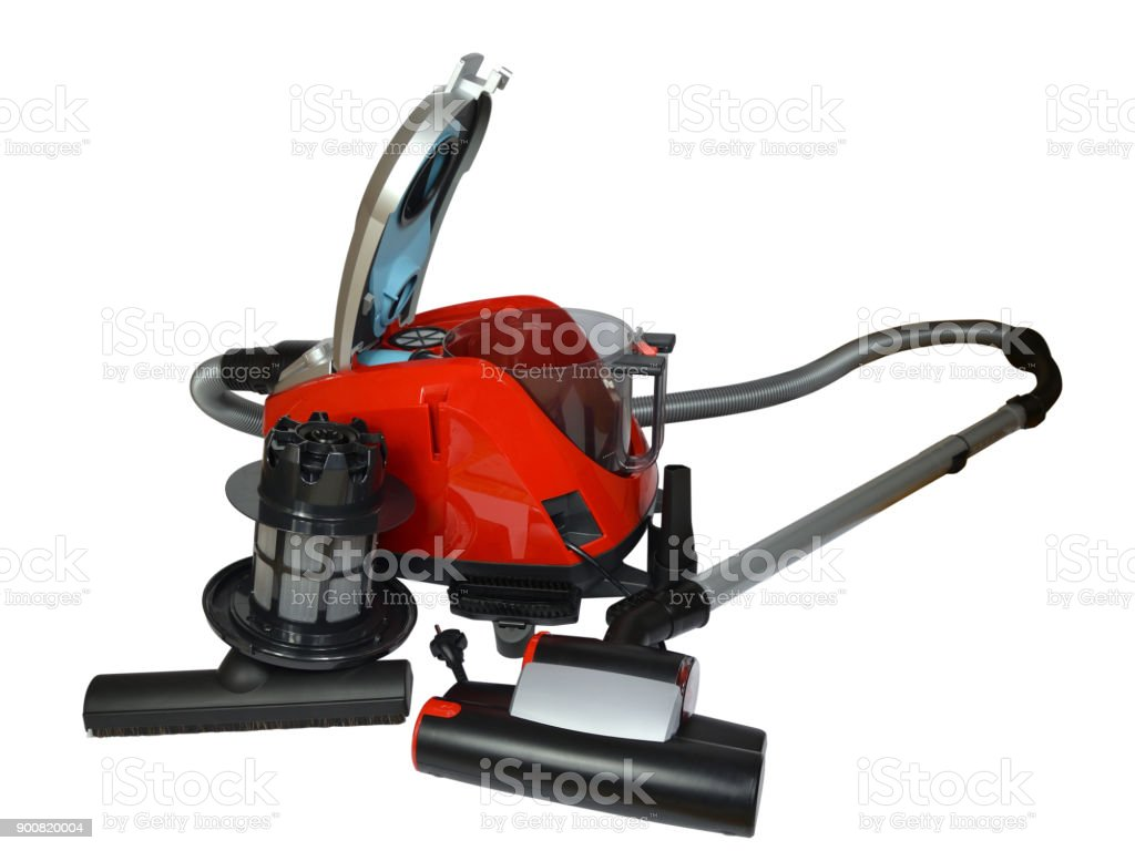 Vacuum cleaner elements on white stock photo