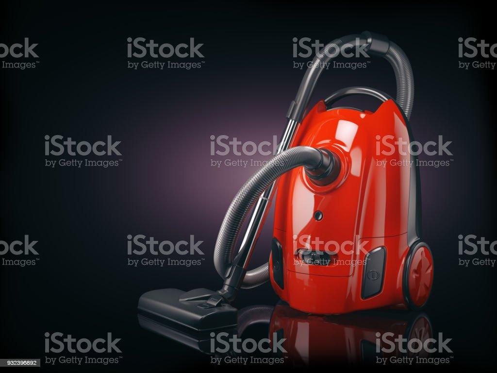 Vacuum cleaner isolated on  black background. stock photo