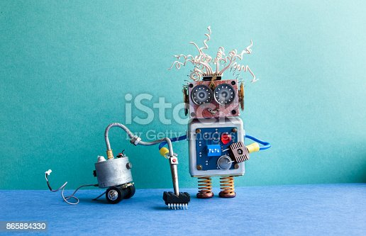 istock Vacuum cleaner machine robot washer. Automate cleaning room service concept. Creative design toy cyborg, green blue interior 865884330