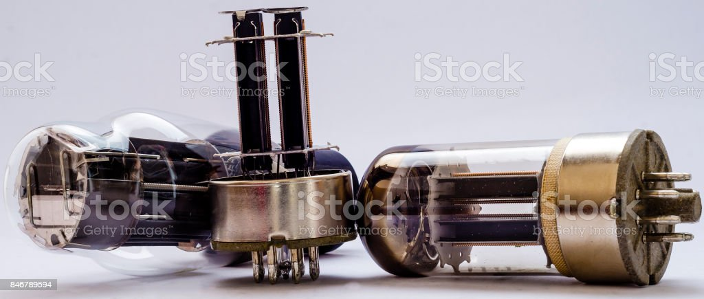 vacuum electronic radio tubes. Isolated image on white background stock photo