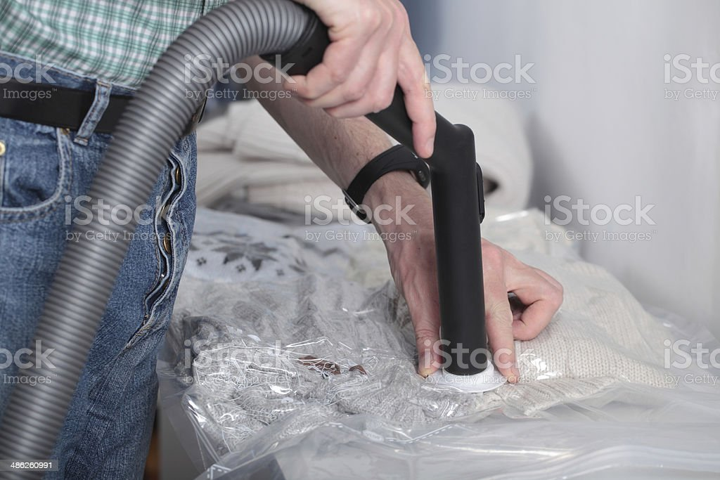 Vacuum pack for clothes stock photo