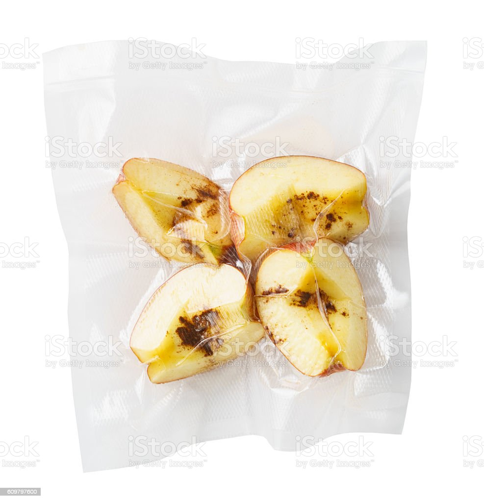 Vacuum sealed apples stock photo
