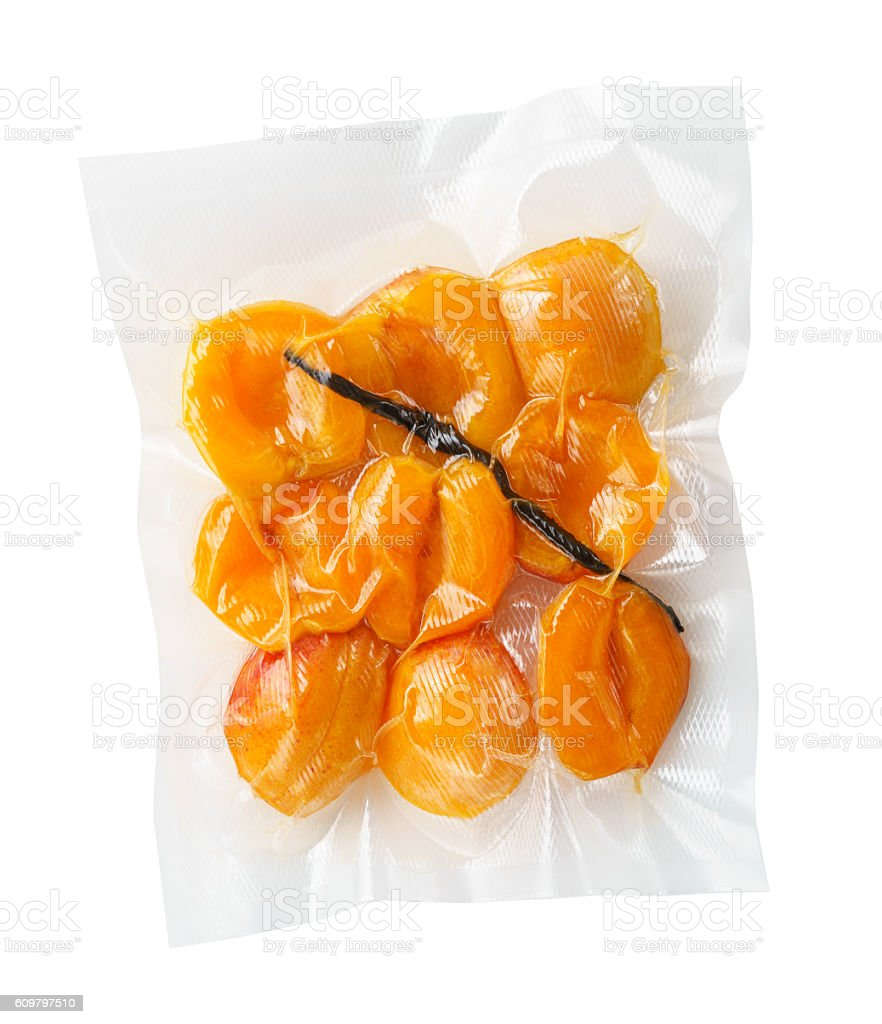 Vacuum sealed apricots stock photo