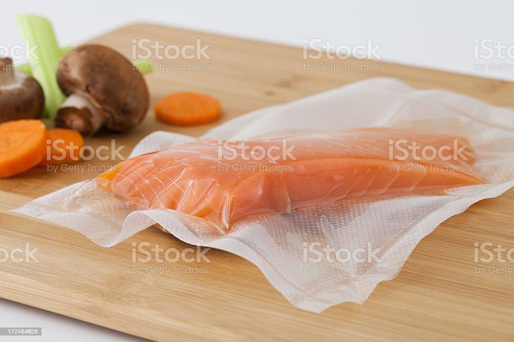 Vacuum Sealed Fresh Salmon Fillet stock photo