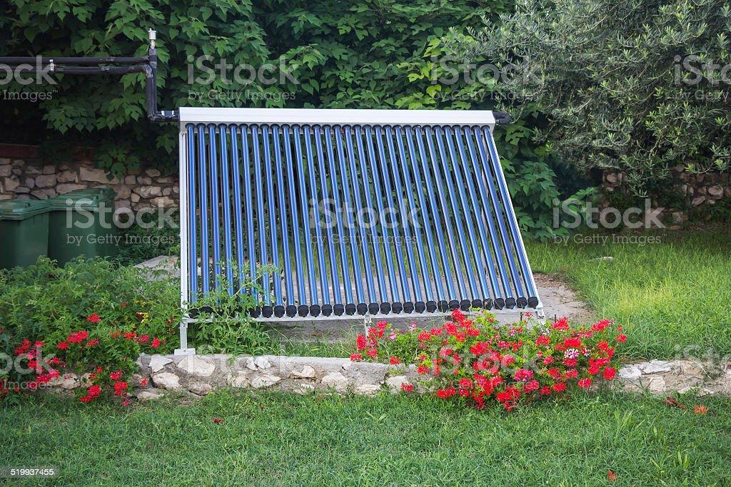 Vacuum solar water heating stock photo