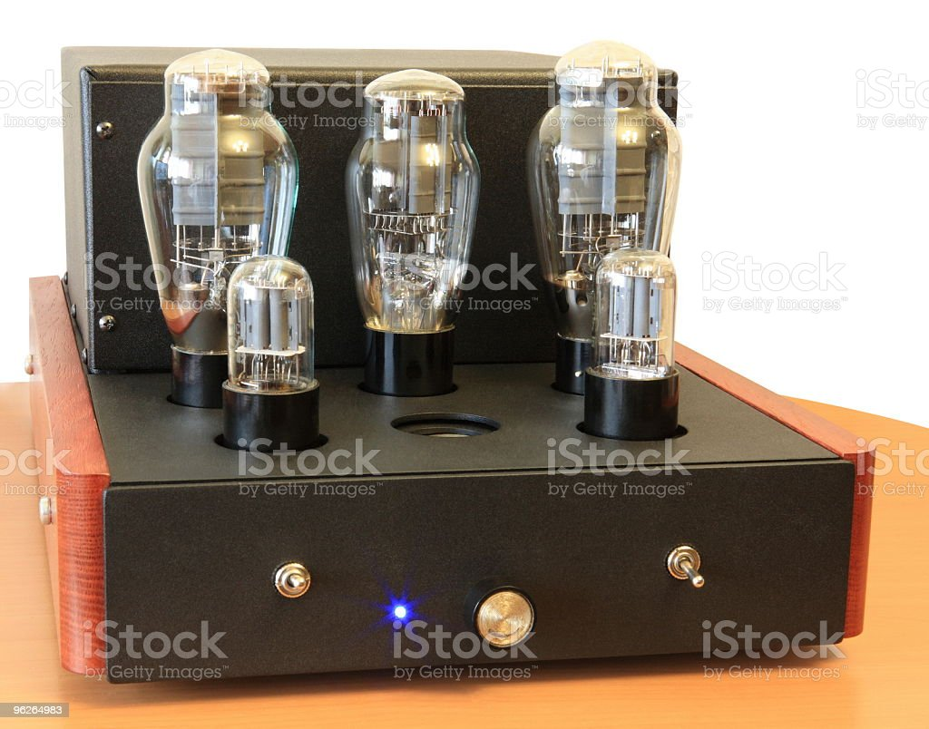 vacuum tube amplifier on 300B triodes stock photo