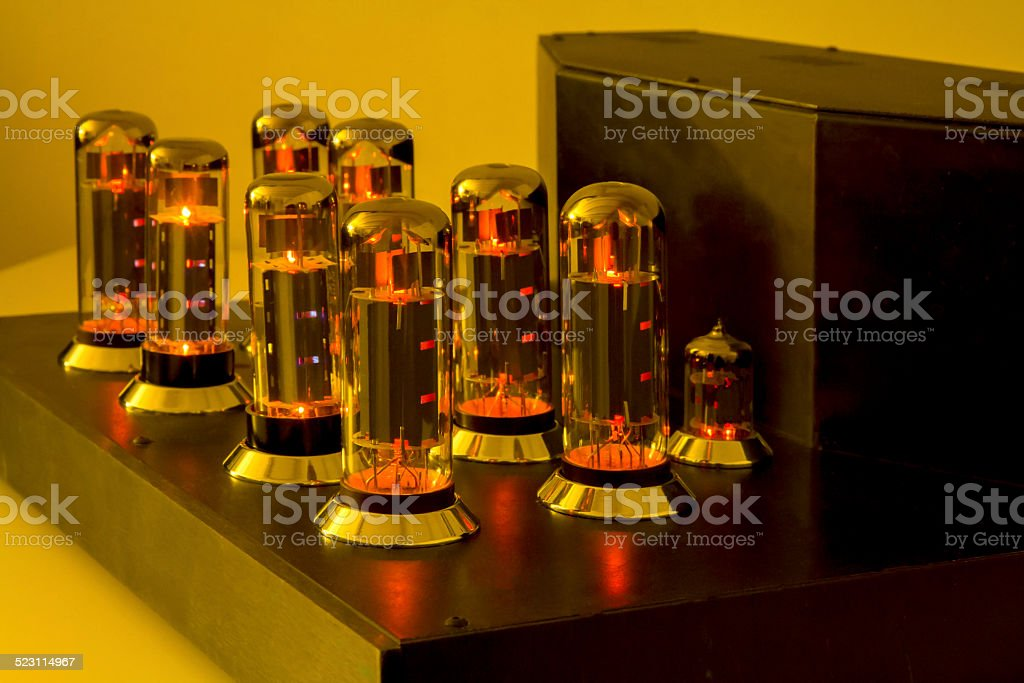 Vacuum tube amplifier Retro stock photo