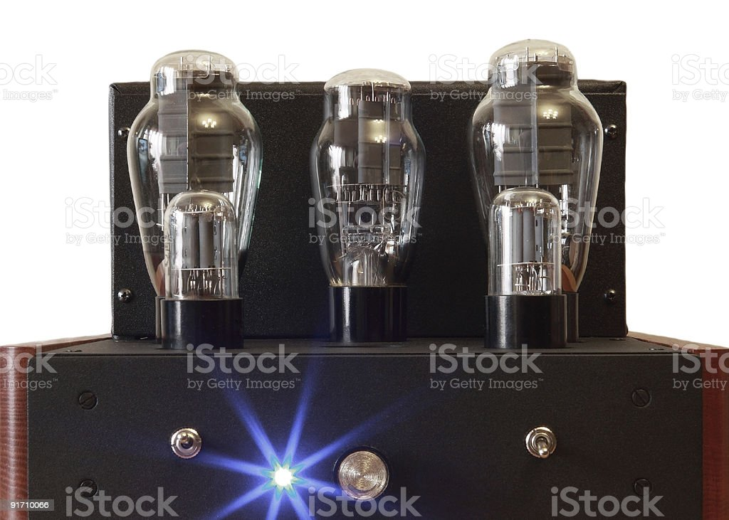 vacuum tube amplifier with 300B triodes royalty-free stock photo