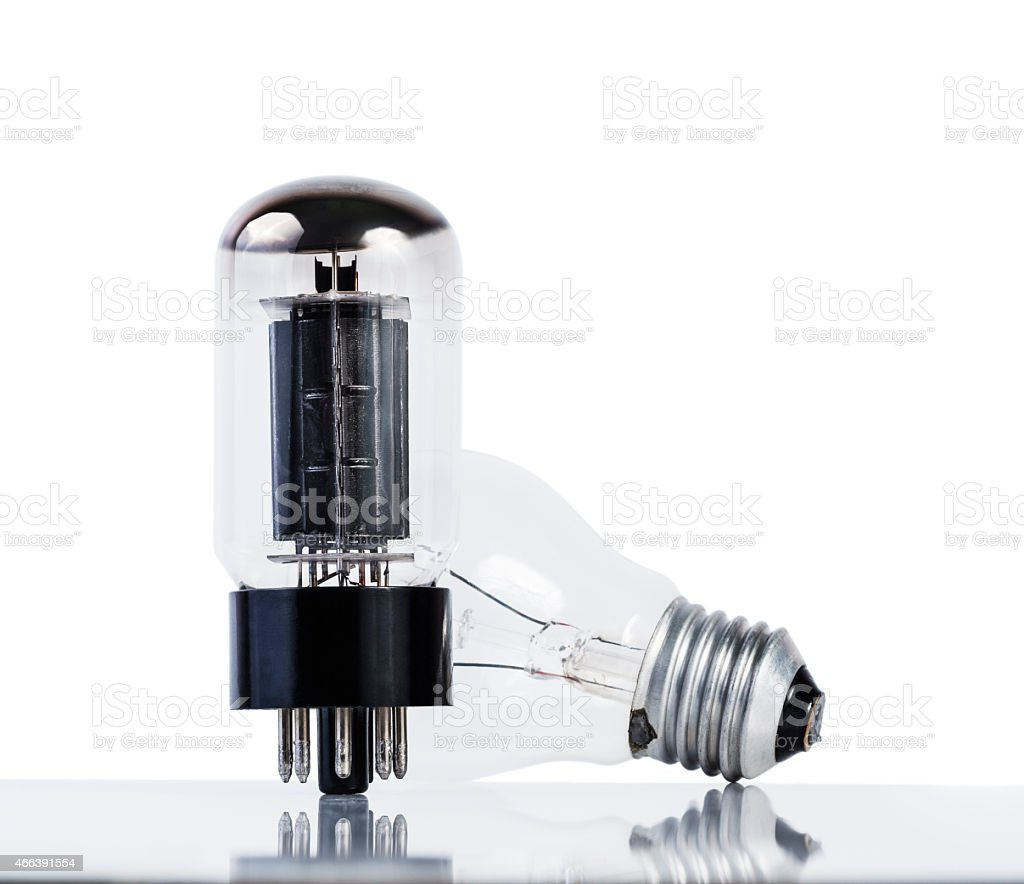 vacuum tube and incancescense bulb stock photo
