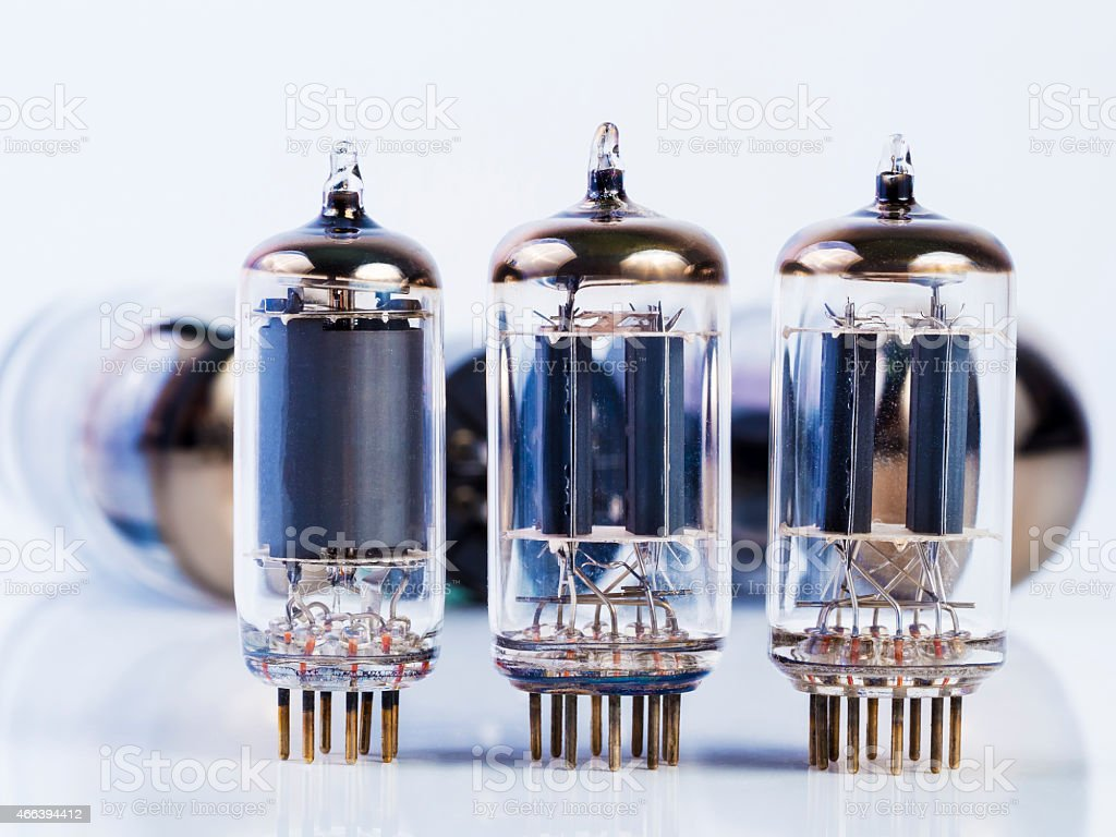 vacuum tube ,electronic parts on white stock photo