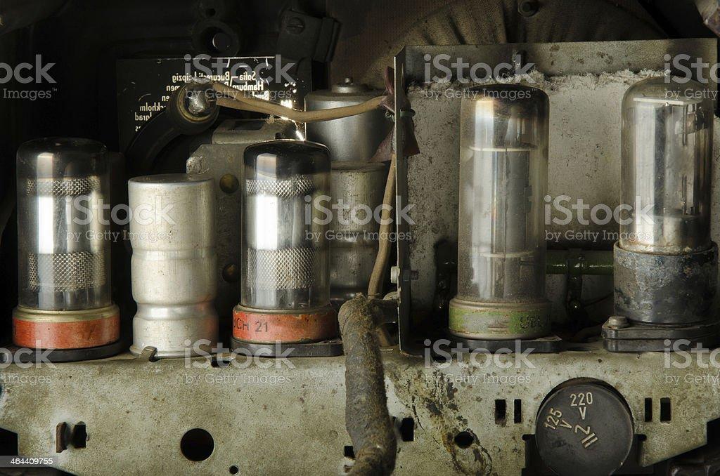Vacuum Tubes Inside Old Radio stock photo
