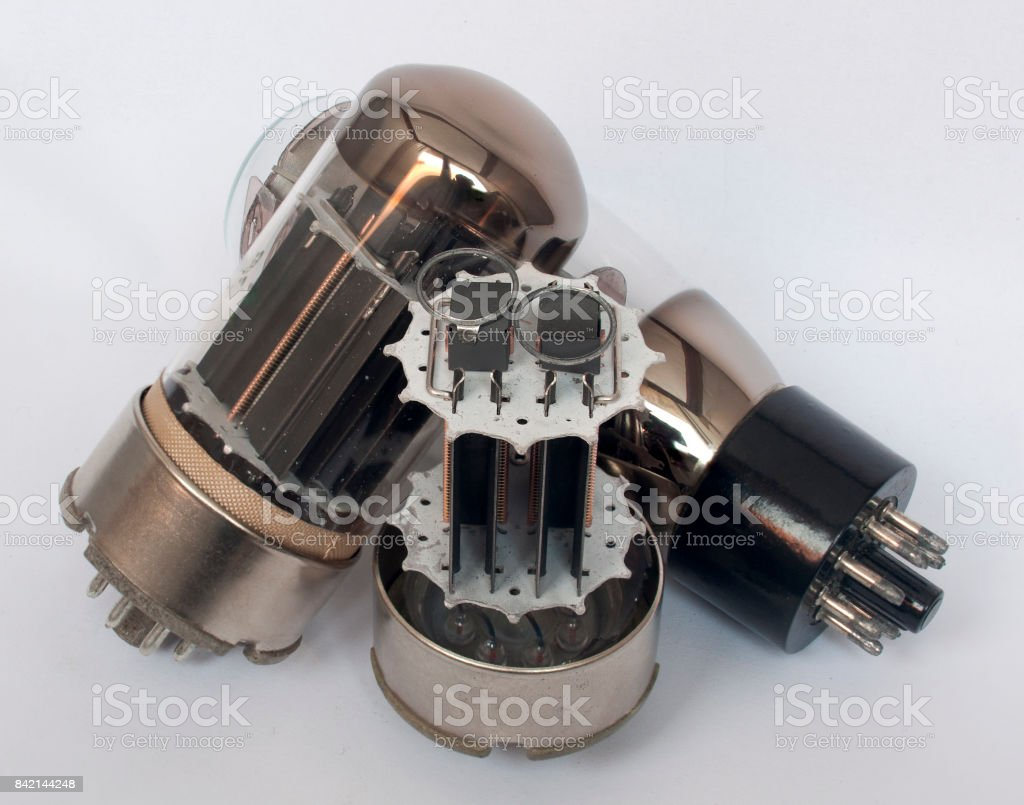 Vacuum tubes - old electronic components, semiconductor devices stock photo