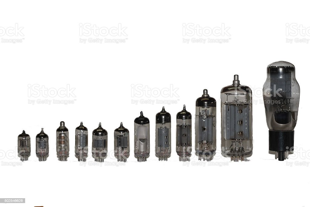 vacuum tubes set stock photo