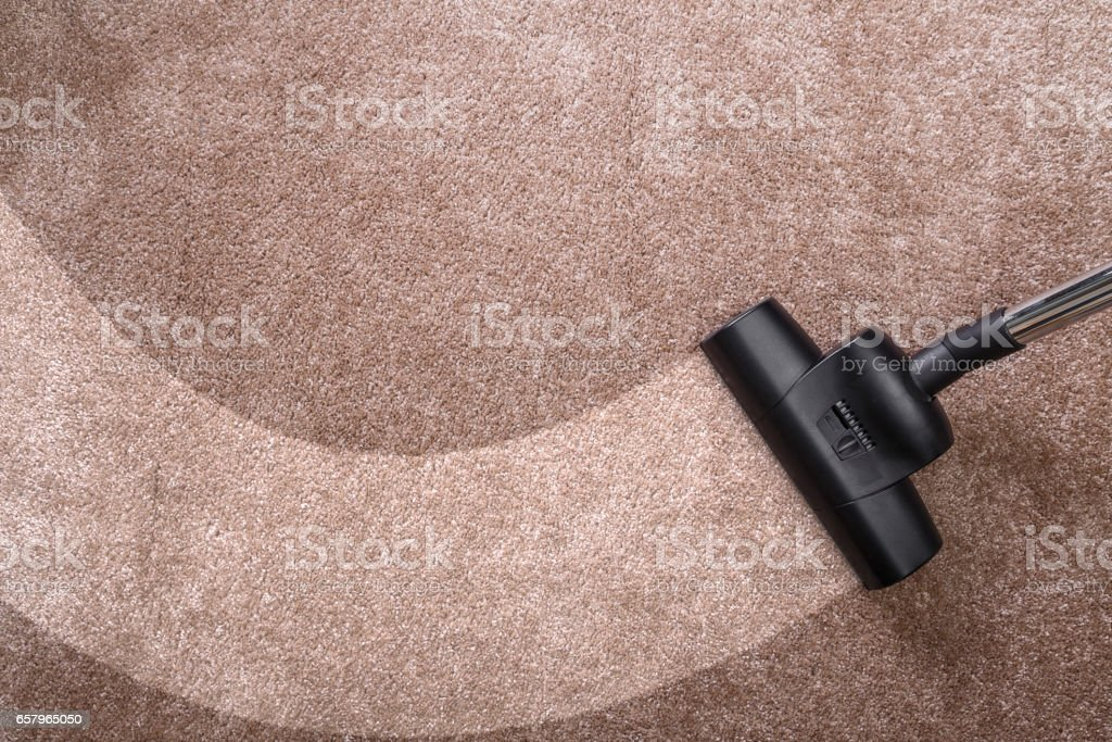 Vacuuming carpet with vacuum cleaner. Housework. stock photo