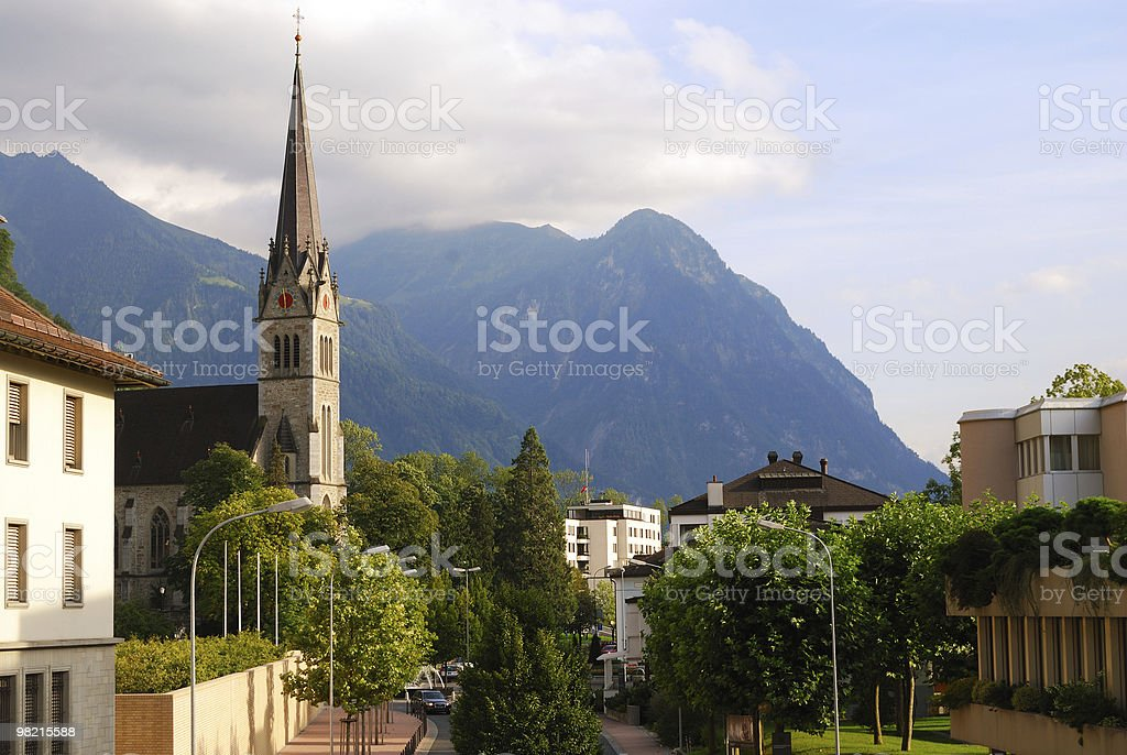 Vaduz church, downtown and Alps, Liechtenstein royalty-free stock photo