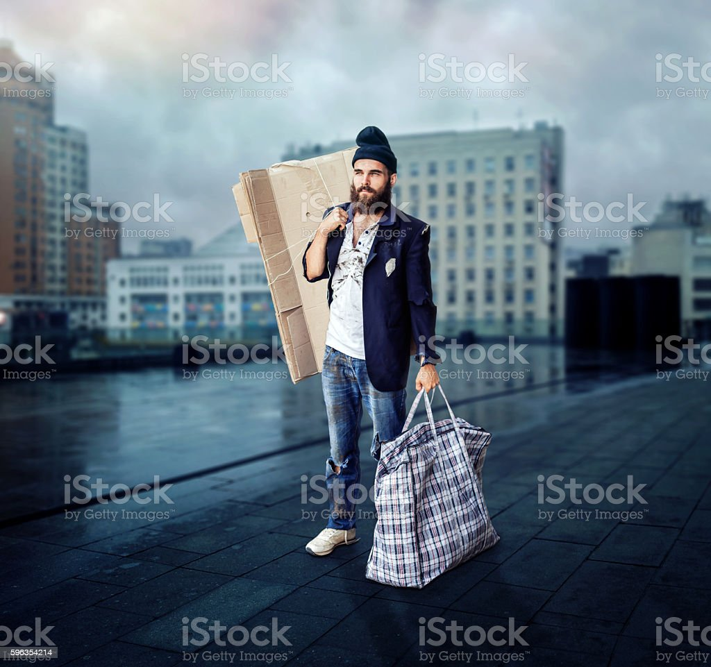 Vagrant on the street royalty-free stock photo