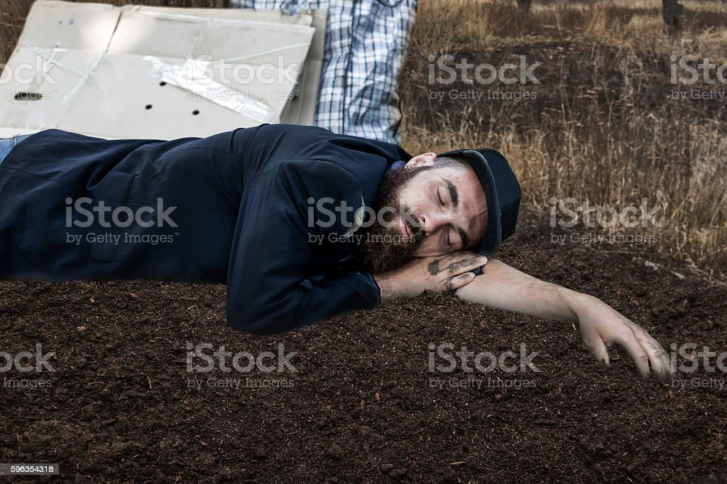 Vagrant sleeping outside royalty-free stock photo