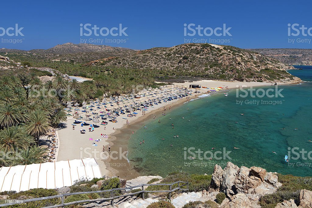 Vai beach at Crete island in Greece stock photo