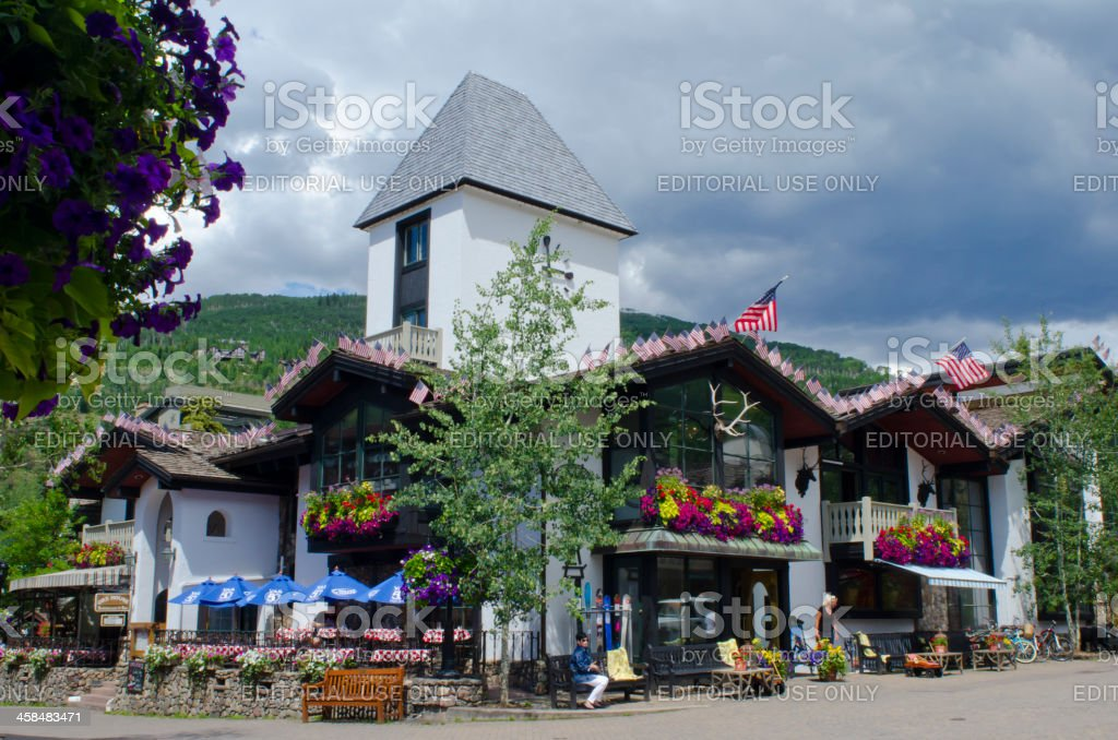 Vail Clock Tower with American Flags stock photo