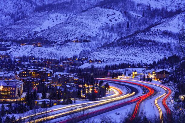 Vail Colorado Ski Resort at Dusk in Winter stock photo