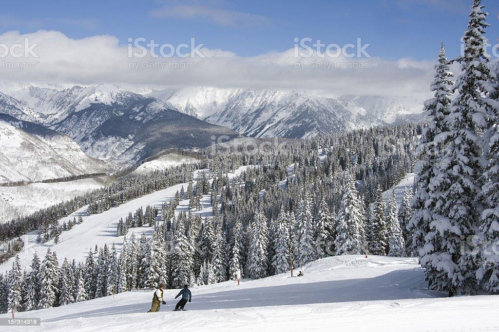 Vail Colorado Snowboarders stock photo
