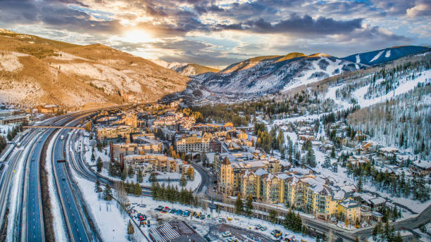 Vail, Colorado, USA Drone Skyline Aerial Vail, Colorado, USA Drone Skyline Aerial. avon colorado stock pictures, royalty-free photos & images