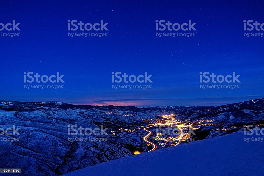 Vail Valley View at Dusk with Beaver Creek stock photo