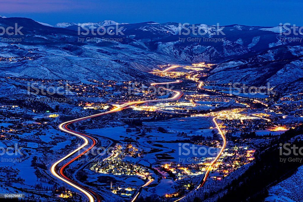 Vail Valley View at Dusk with Beaver Creek royalty-free stock photo