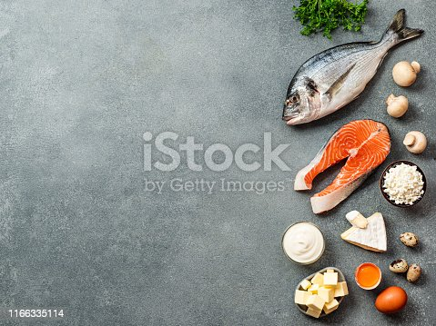Vaitamin D sources concept with copy space for text. Fish, salmon, dairy products, eggs, mushrooms on gray stone background. Top view or flat lay. Copy space left