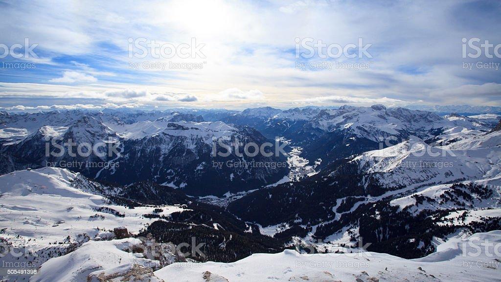 Val di Fassa valley from Sella Rondo stock photo