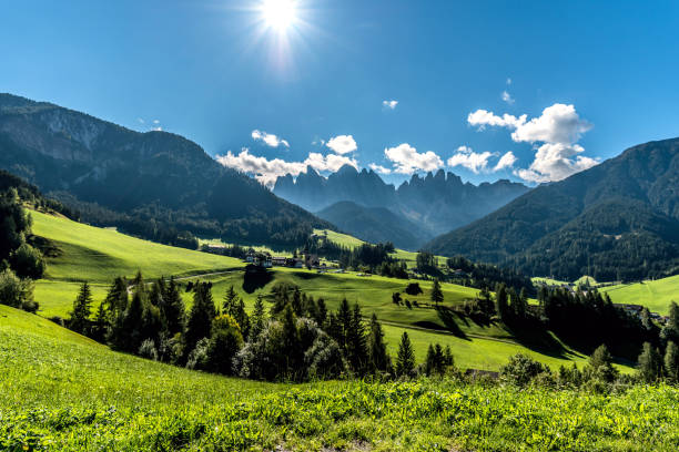 Val di Funes, Dolomites, South Tyrol, Italy View of Val di Funes, Dolomites, South Tyrol, Italy trentino alto adige stock pictures, royalty-free photos & images