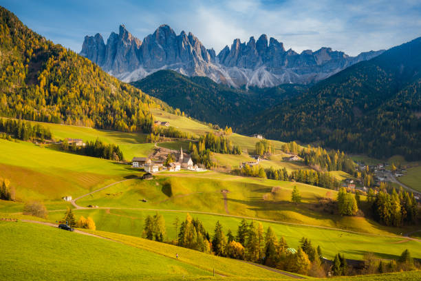 Val di Funes in the Dolomites at sunset, South Tyrol. Italy stock photo