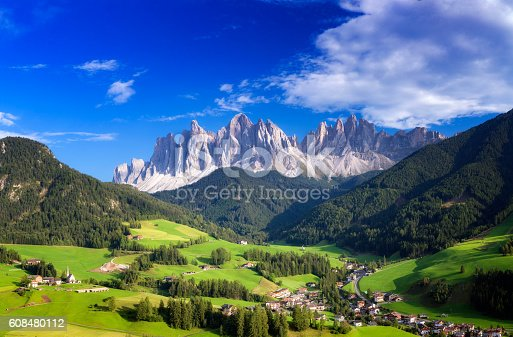 istock Val di Funes, San Giovanni Church Panorama - Villnöss, southtirol 608480112