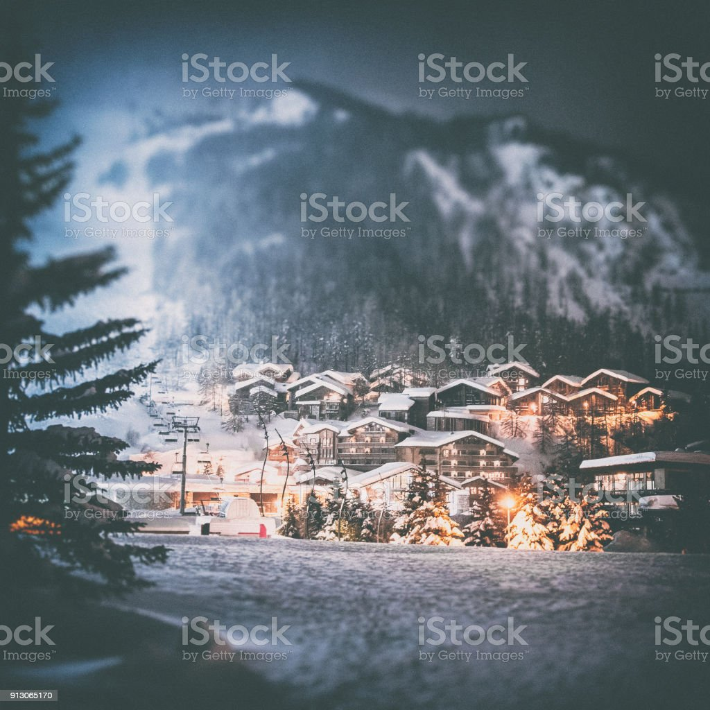 Val d'isere french ski resort illuminated village by snowy night in European Alps in winter stock photo