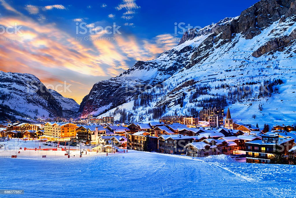 Val d'Isère city stock photo