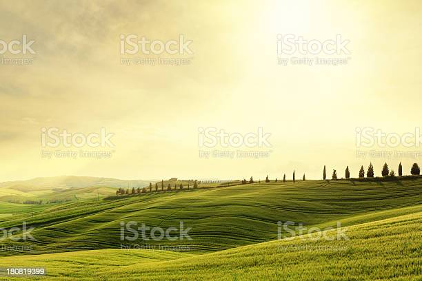 Photo of Val d'Orcia hillside sunset in Tuscany, Italy