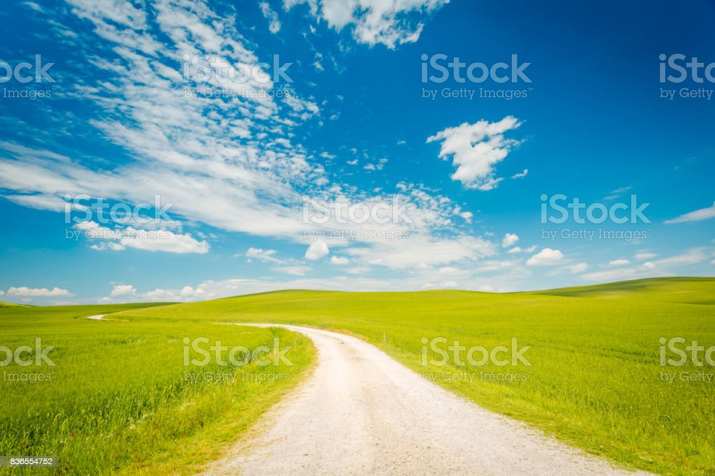 Val d'Orcia landscape in Tuscany region . Italy, Europe stock photo