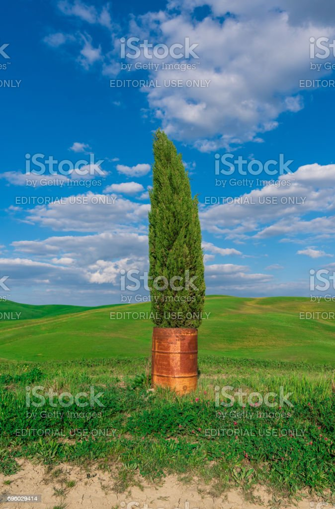 Val d'Orcia landscape (with Copyright) in Tuscany region stock photo