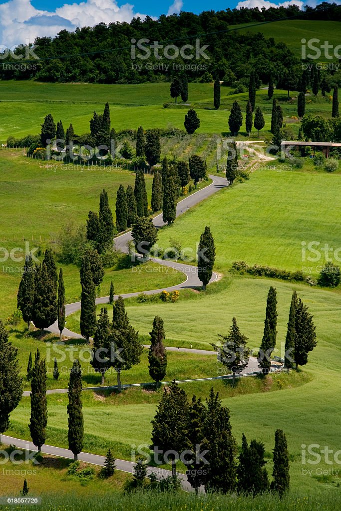 Val d'Orcia, Siena, Tuscany, Italy - Excursion in Mountain Bike stock photo