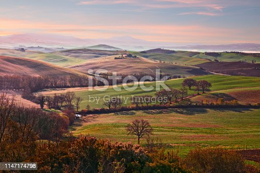 Val d'Orcia, Siena, Tuscany, Italy: landscape at sunrise of the countryside and the picturesque colorful hills
