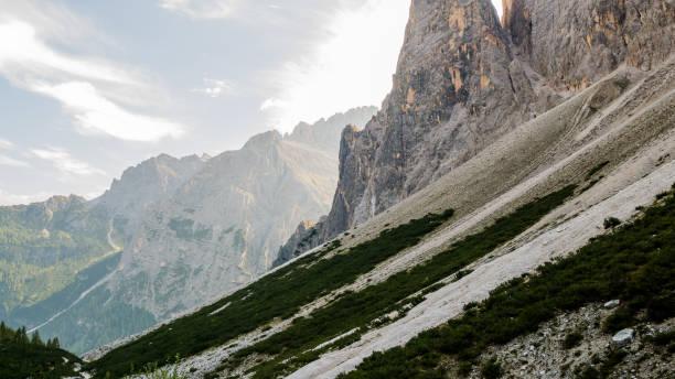 Val Fiscalina sunrise dolomites mountians stock photo