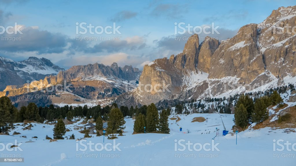 Val Gardena, beautiful early winter and spring alpine landscape stock photo